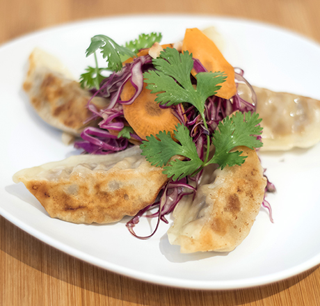 DUCK GYOZA (CARROT AND CABBAGE SALAD)